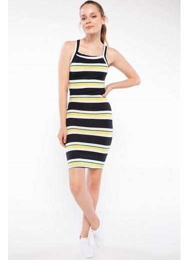 DeFacto İnce Askılı Çizgili Elbise Sarı